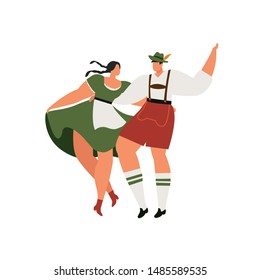 Young couple in traditional bavarian clothes with girl in dirdl dress dance. Bavarian Couple Dance Oktoberfest Munich. Flat Cartoon Vector Illustration Collection.