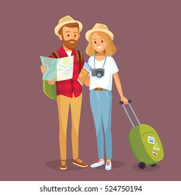 Young couple with travel bag and map traveling