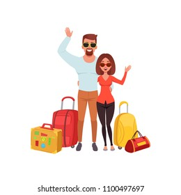 Young couple with travel bags waving hands, people traveling together during summer vacation vector Illustration on a white background