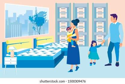 Young Couple with Two Little Daughters, Toddler and Baby in Sling, Looking about Bedding Store. Stand with Mattresses Samples in Section. Large Exhibition Space with Beds to Test Items Before Buying.