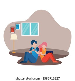 young couple using smartphone and laptop characters vector illustration design