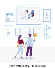 Young couple visiting art gallery and looking at paintings on a wall, museum art exhibition and man and woman - visitors are contemplating arts vector flat illustration with cartoon characters