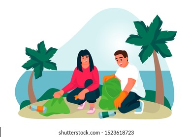 Young couple of volunteers clean up plastic trash on tropical sand beach. Vector flat cartoon illustration. Ecological people lifestyle. Volunteering, charity social concept.