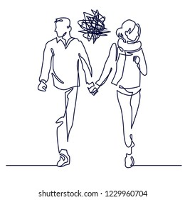 Young couple walking continuous one line drawing. Relationship problems. Romantic unsuccessful date. Incomprehension couple hold hands but angry at each other. Sketch vector illustration.