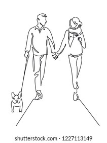Young couple walking dog continuous one line vector drawing. Romantic date. Hand drawn family. Boyfriend and girlfriend with bulldog. People in love. Petcare. Minimalistic contour illustration