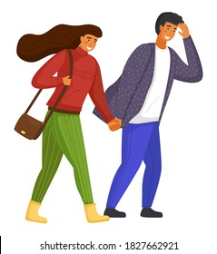 Young couple walking, overcoming strong gusts of wind. Long-haired woman in red sweater and green pants, bag over shoulder. Man in jeans, patterned shirt walks, covering eyes with hands. Wind blowing