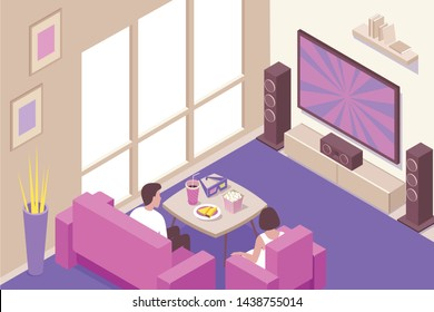 Young couple watching home online streaming and downloadable cinema movies with popcorn snacks isometric composition vector illustration
