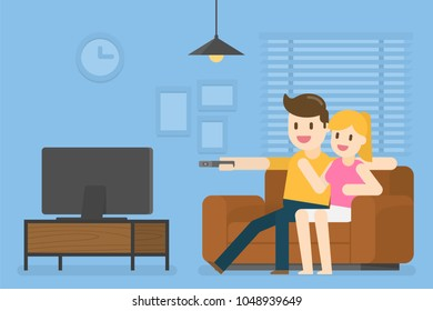 Young Couple Watching Television At Home. Vector Illustration Concept Of People Lifestyle.