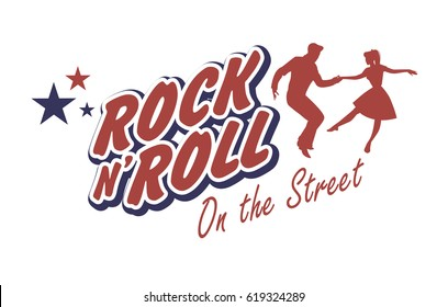 Young couple wearing 50's clothes dancing rock and roll. Vector Illustration. Good for logo