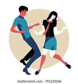 Young couple wearing retro clothes 60s, dancing Northern Soul or Mod style