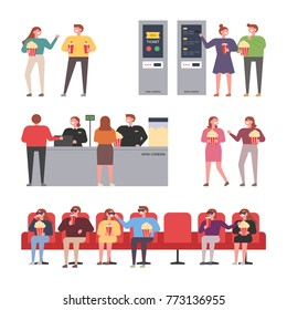 Young couples dating at the theater vector illustration flat design