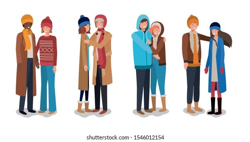 young couples with winter clothes characters vector illustration design