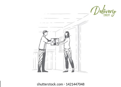 Young courier gives customer cardboard box, woman receives mail, postman profession, logistics. Express delivery service, parcel transportation concept sketch. Hand drawn vector illustration