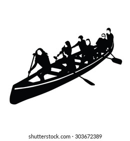 young crowd rowing in a canoe vector silhouette