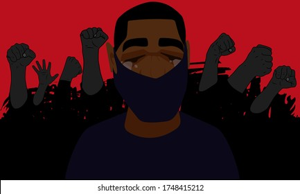 A young crying black guy against the backdrop of a rally crowd. Stock vector illustration about racism and human rights abuse. Stock image in black and red colors. For news, political blogs.