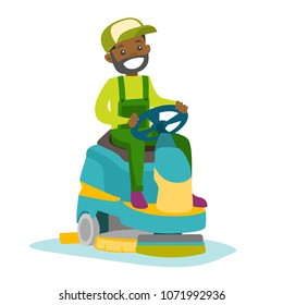 Young cucasian white man cleaning supermarket floor with washing machine. Man operating floor scrubber machine. Cleaning service concept. Vector cartoon illustration isolated on white background.
