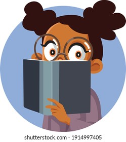 Young Cute African Girl Reading a Book. Curious child expanding knowledge learning and studying