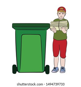 Young cute boy carries a bundle of paper in his hands, waste paper. Put garbage in a trash can or container for recycling. Flat cartoon vector illustration.