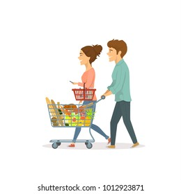 young cute couple, man and woman shopping in a supermaket, buying food together