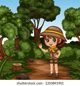 Young Cute Girl Scout Waving Cartoon Character in a Costume and Scout Hat. Little Scout Standing on a Forest Path