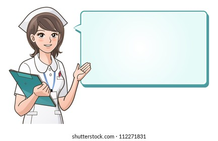 Young cute nurse providing information with a smile on a speech bubble background.Health care, Nurse hat, Cartoon Nurse. isolated on white. Clipping mask is used in the EPS file.