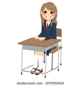 Young cute teenager student girl sitting on school desk