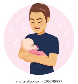 Young dad with happy face expression singing sweet baby girl embracing her on pink blanket