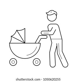 Young dad walking with baby in pushchair vector line icon isolated on white background. Father and pram line icon for infographic, website or app.