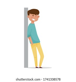 Young Dark-haired Man Leaning Against the Wall and Smiling Vector Illustration