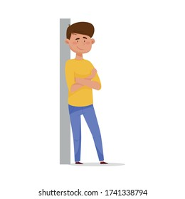 Young Dark-haired Man Leaning Against the Wall with His Arms Crossed and Smiling Vector Illustration