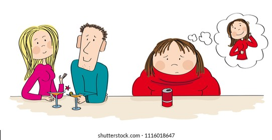 Young dating couple sitting in the bar, drinking cocktail. Fat woman sitting next to them with cola in front of her, feeling sad and alone, dreaming about slim figure. Original hand drawn illustration