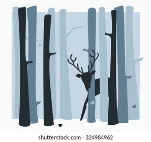 Young deer in inky blue woodland scene