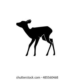 Young deer vector silhouette