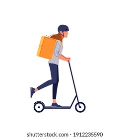 Young delivery woman in helmet with thermo bag or backpack riding a scooter along the city, delivering food. Courier, delivery service concept. Cartoon flat style vector illustration isolated on white