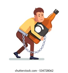 Young depressed and sad man chained and shackled to a big bottle of whiskey drink. Alcoholic addicted to alcohol hugging booze in arms. Flat style concept vector illustration isolated on white.
