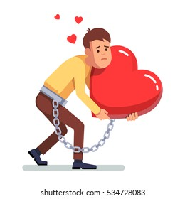 Young depressed and sad man chained and shackled to a big red heart hi is hugging in arms. Breakup stress and grief concept. Modern flat style concept vector illustration isolated on white background.