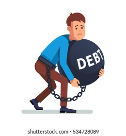 Young depressed and sad man chained and shackled to a big debt weight. Holding and dragging heavy ball in arms. Modern flat style concept vector illustration isolated on white background.