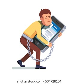 Young depressed and sad man chained and shackled to a big mobile smart phone. Addicted to social networking hugging in arms. Modern flat style concept vector illustration isolated on white background.