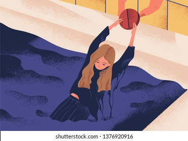 Young depressed woman drowning in pool and holding on to large pill. Concept of antidepressant saving girl from depression, medication treating illness or disorder. Modern flat vector illustration.