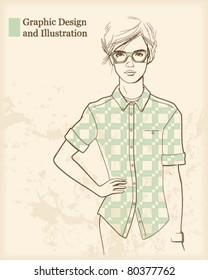 Young designer girl portrait