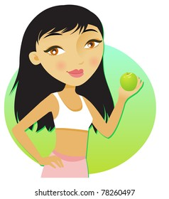 young diet girl holding a green apple