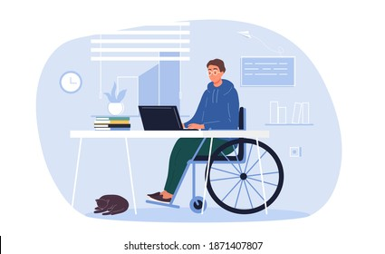 Young disabled man in wheelchair working on laptop computer at home or office. Handicapped businessman character at workplace. Disability concept. Flat cartoon vector Illustration.