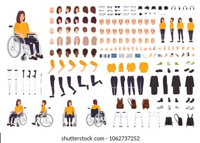 Young disabled woman in wheelchair constructor or DIY kit. Set of body parts, facial expressions, crutches, walking frame. Female cartoon character. Front, side, back views. Vector illustration.