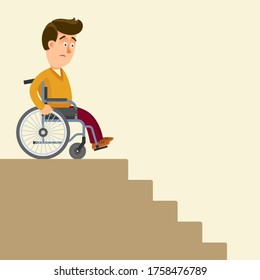 A young disappointed man is sitting in a wheelchair and looking at the stairs going down. Uncomfortable city is stress for handicapped, crippled . Vector illustration, flat cartoon style, isolated.