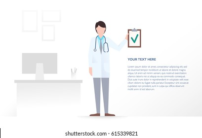 Young doctor in an own office, interior of a clinic, holding a clipboard with a green check mark. Healthcare, medical insurance and diagnostics of a diseases. Vector flat illustration