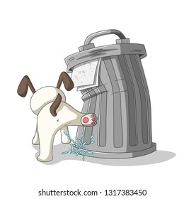Young dog is peeing on a dustbin. Vector Illustration with separate layers.