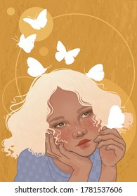 young dreamy girl and shining butterflies are her thoughts flying away into the distance
