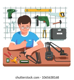 Young electronics and mechanical engineer assembling or fixing diy robot arm manipulator using screwdriver. Engineer working at his garage surrounded by instruments. Flat vector illustration