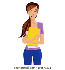 Young elegant beautiful student girl standing holding yellow study documents folder in hands isolated vector illustration