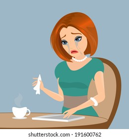 Young elegant woman is crying in the cafe - close up illustration.